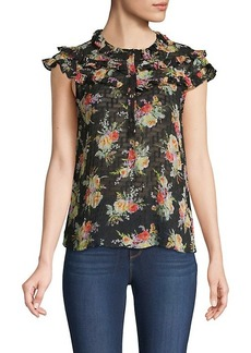 Rebecca Taylor Floral Ruffle Silk & Cotton-Blend Top