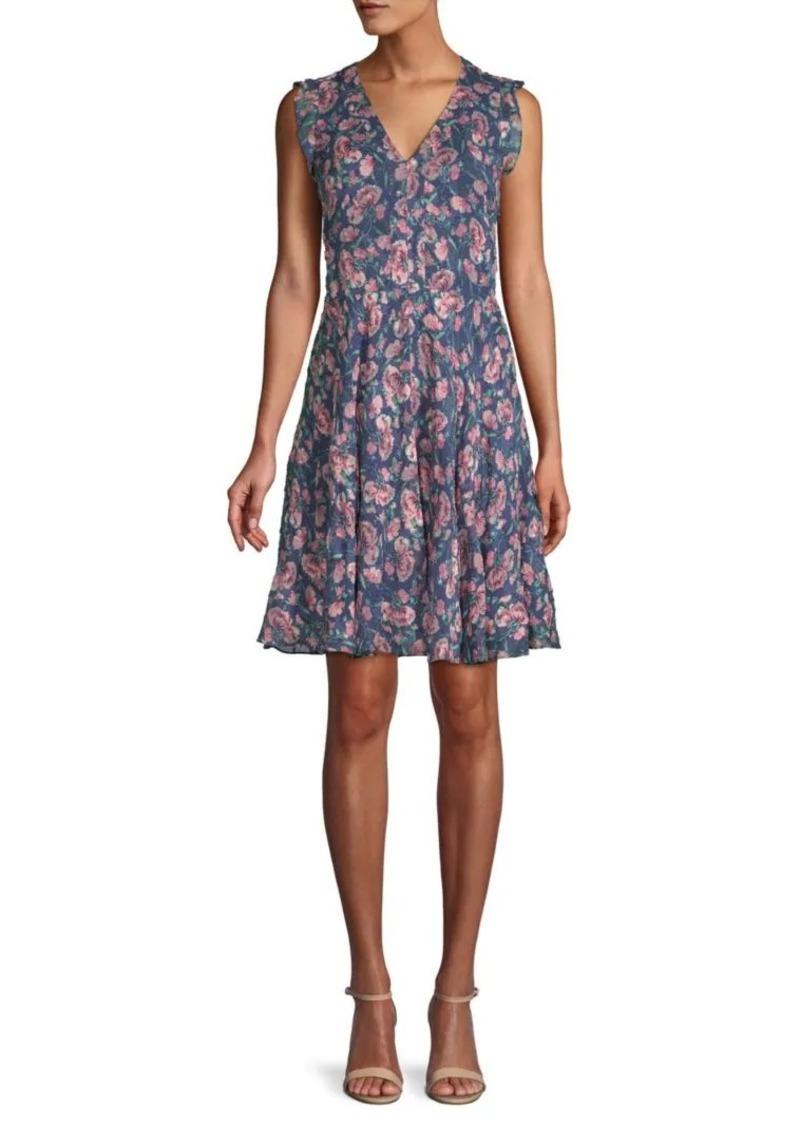 Rebecca Taylor Floral Silk & Cotton Fit-&-Flare Dress