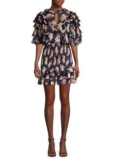 Rebecca Taylor Floral Silk & Cotton Ruffle Mini Dress