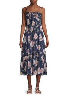 Rebecca Taylor Floral Silk Blend Midi Dress