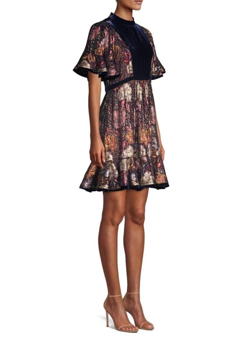 Rebecca Taylor Floral Silk Velvet Dress