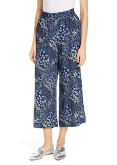 Rebecca Taylor Floral Wide Leg Crop Silk Pants