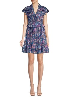 Rebecca Taylor Flutter Sleeve Leaf Print Mini Dress