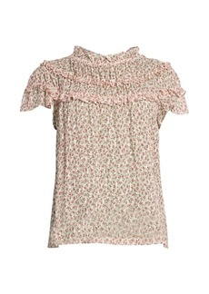 Rebecca Taylor Francesca Floral Tier-Ruffle Silk-Blend Blouse