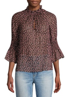 Rebecca Taylor Francesca Silk & Cotton Ruffle Blouse