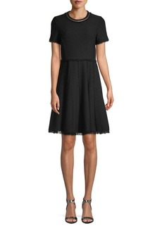 Rebecca Taylor Fray-Trimmed A-Line Dress
