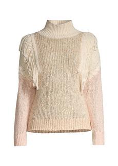 Rebecca Taylor Fringe Knit Alpaca & Wool-Blend Pullover