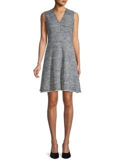 Rebecca Taylor Fringed Tweed Flare Dress