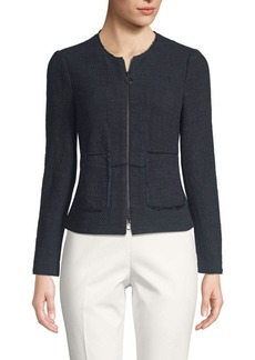 Rebecca Taylor Front-Zip Tweed Jacket