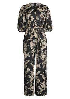 Rebecca Taylor Gabrielle Floral Puff-Sleeve Jumpsuit