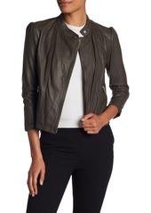 Rebecca Taylor Garment-Washed Leather Moto Jacket