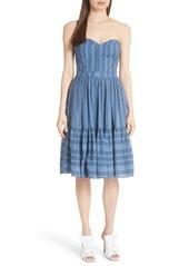 Rebecca Taylor Gauzy Metallic Stripe Strapless Dress