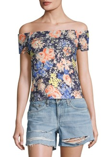 Rebecca Taylor Gigi Floral Off-the-Shoulder Jersey Top