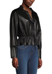 Rebecca Taylor Leather Peplum Blouse