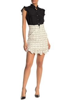 Rebecca Taylor Grid Print Tweed Mini Skirt