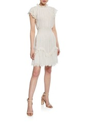 Rebecca Taylor High-Neck Metallic Short Dress with Lace