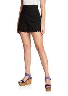 Rebecca Taylor High-Waist Scalloped Shorts