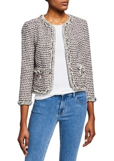 Rebecca Taylor Houndstooth Tweed 3/4-Sleeve Jacket