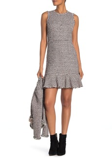 Rebecca Taylor Houndstooth Tweed Ruffle Hem Dress