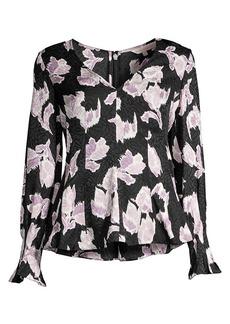 Rebecca Taylor Ikat Blossom Stretch-Silk Blouse