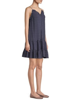 Rebecca Taylor Ikat Polka-Dot Seersucker Ruffle Slip Dress
