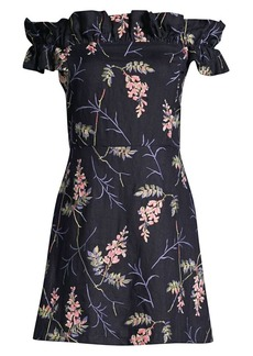 Rebecca Taylor Ivie Embroidered Off-The-Shoulder Dress