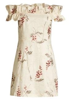 Rebecca Taylor Ivie Embroidered Off-The-Shoulder Dress