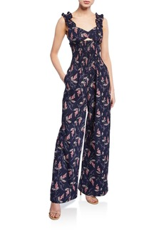 Rebecca Taylor Ivie Floral Sleeveless Jumpsuit