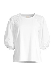 Rebecca Taylor Ivy Embroidered Jersey Top
