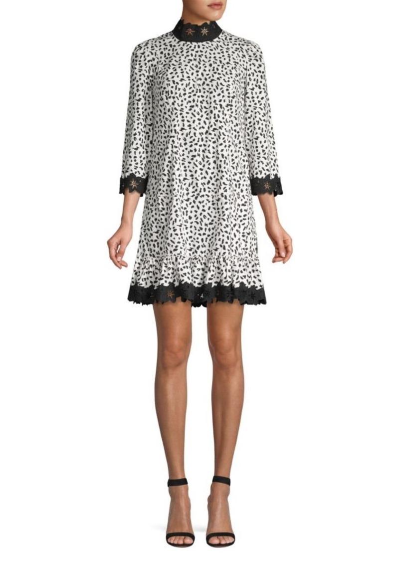 Rebecca Taylor Jaguar Print Flounce Shift Dress