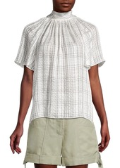 Rebecca Taylor Jules Plaid Short-Sleeve Silk Blouse