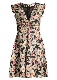 Rebecca Taylor Kamea Smocked Floral Flutter-Sleeve V-Neck Stretch Silk A-Line Dress