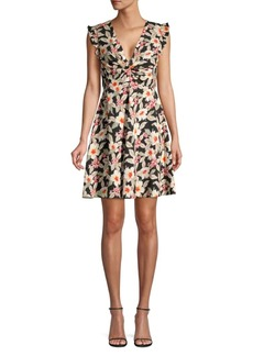 Rebecca Taylor Kamea Smocked Floral Silk A-Line Dress