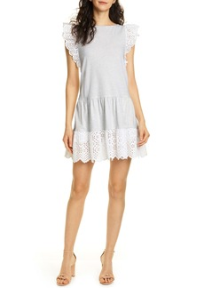 La Vie Rebecca Taylor Agatha Eyelet Detail Cotton Jersey Dress