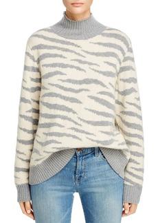 La Vie Rebecca Taylor Animal-Jacquard Turtleneck Sweater
