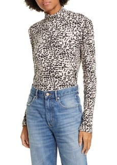 La Vie Rebecca Taylor Animal Print Cotton Blend Jersey Mock Neck Top