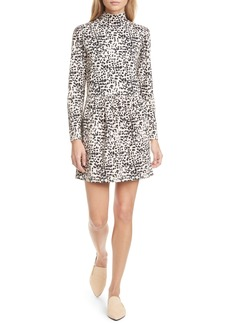 La Vie Rebecca Taylor Animal Print Long Sleeve Mock Neck Jersey Dress