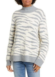 La Vie Rebecca Taylor Animal Print Turtleneck Merino Wool & Cotton Blend Sweater