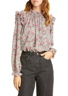 La Vie Rebecca Taylor Camila Floral Shirred Top