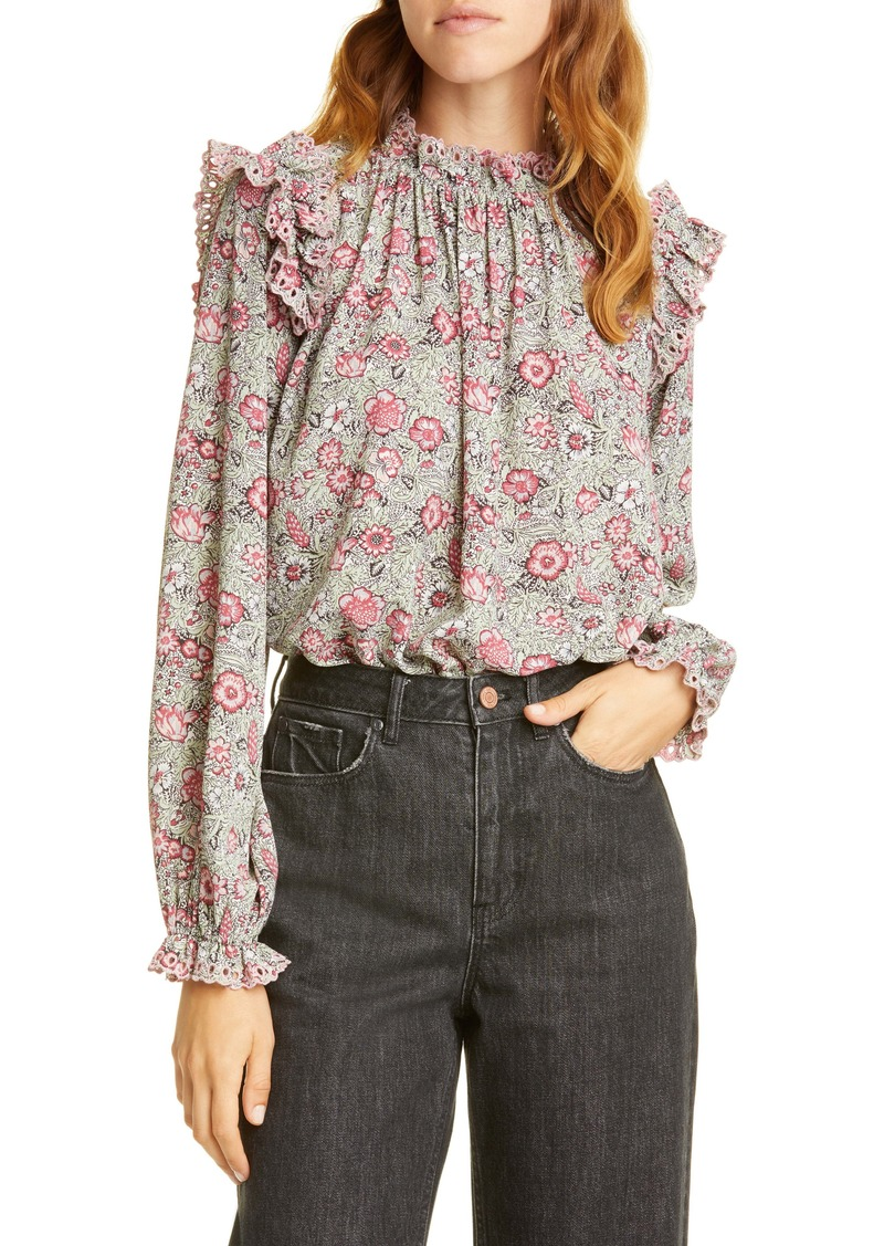 La Vie Rebecca Taylor Camila Floral Shirred Top