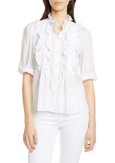 La Vie Rebecca Taylor Celia Ruffle Detail Cotton Blouse