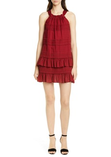 La Vie Rebecca Taylor Celia Ruffle Detail Cotton Shift Dress