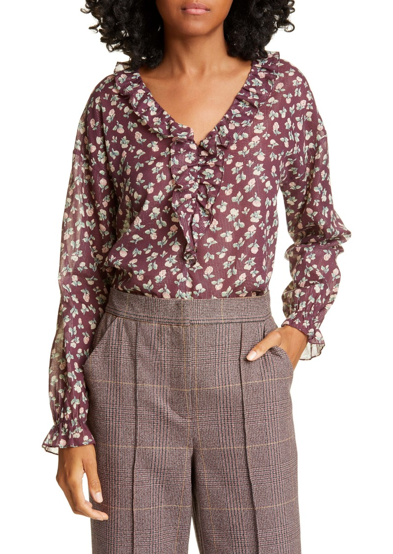 La Vie Rebecca Taylor Cherise Floral Metallic Detail Cotton Blend Top