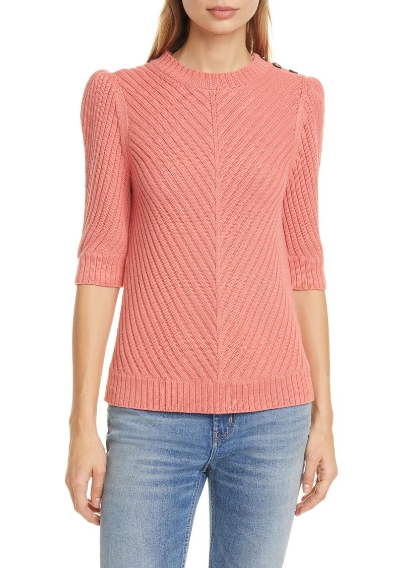 La Vie Rebecca Taylor Chevron Rib Cotton & Wool Sweater