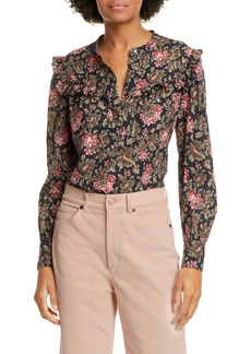 La Vie Rebecca Taylor Chouette Floral Metallic Detail Long Sleeve Cotton Shirt
