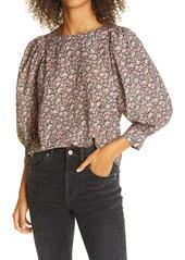 La Vie Rebecca Taylor Claudine Floral Cotton Blend Top