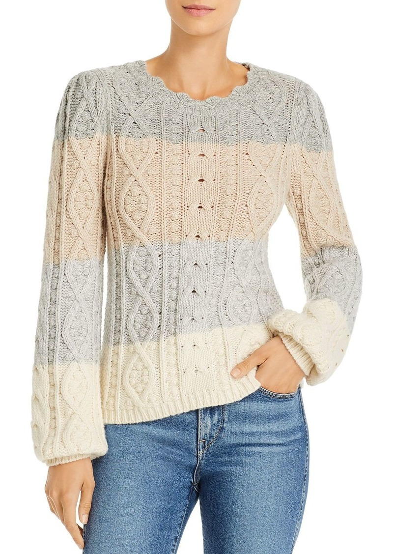 La Vie Rebecca Taylor Color-Blocked Cable Knit Sweater