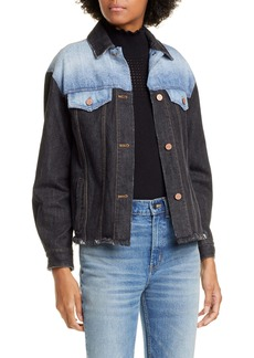 La Vie Rebecca Taylor Colorblock Denim Trucker Jacket