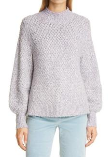 La Vie Rebecca Taylor Cozy Space Dye Blouson Sleeve Cotton Blend Sweater