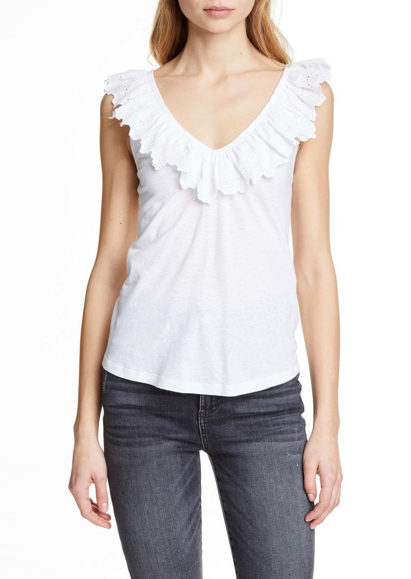 La Vie Rebecca Taylor Embroidered Ruffle Linen & Cotton Top
